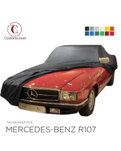 Custom tailored indoor car cover Mercedes-Benz R107 SL-Class with mirror pockets