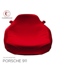 Custom tailored indoor car cover Porsche 911 (996) GT2 with fixed spoiler Maranello Red with mirror pockets