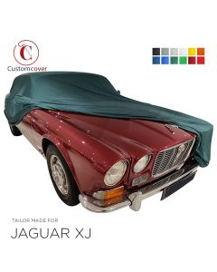 Custom tailored indoor car cover Jaguar XJ with mirror pockets