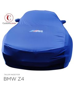Custom tailored indoor car cover BMW Z4 E85 & E86 Dark Blue with mirror pockets and print