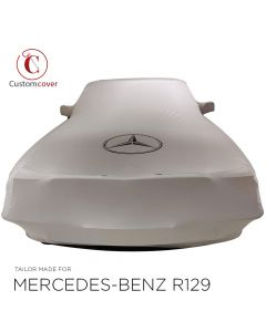 Custom tailored indoor car cover Mercedes-Benz R129 SL-Class pockets in light grey with print
