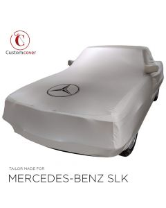 Custom tailored indoor car cover Mercedes-Benz SLK R127 light grey with mirror pockets and print