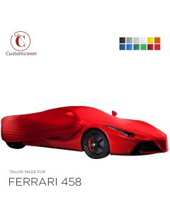 Custom tailored indoor car cover Ferrari 458 with mirror pockets