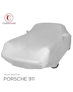 Custom tailored indoor car cover Porsche 911 Turbo (930 & 964) with turbo spoiler Light Grey with mirror pockets