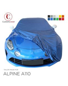 Custom tailored indoor car cover Alpine A110 with mirror pockets
