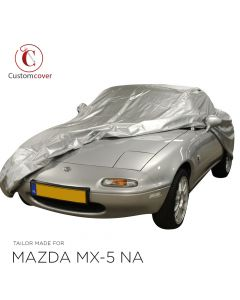 Outdoor Silver carcover Mazda MX-5 NA with mirrorpockets