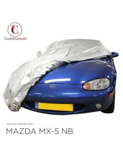 Outdoor Silver carcover Mazda MX-5 NB with mirrorpockets