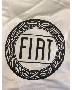 Custom tailored indoor car cover Fiat 600 Wimbledon white with print