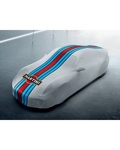 Custom tailored indoor car cover Porsche Cayman with mirror pockets and Martini design